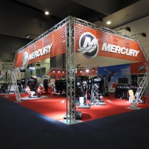 Mercury Stand rigging at Melbourne Boat Show 2015