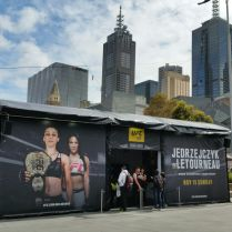 UFC 193 truss structure at Federation Square